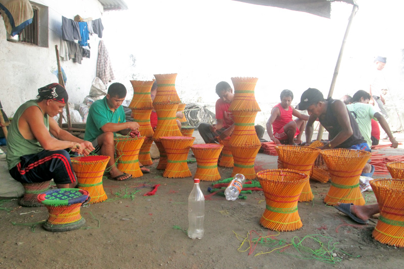 Prisoners making stools out of bamboo sticks at the Tanahun Prison, on Thursday, September 29, 2016. Photo: Madan Wagle