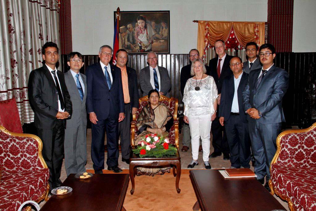 A delegation led by visiting Nobel laureate Prof Dan Shechtman with President Bidya Devi Bhandari at the latteru2019s office, Sheetal Niwas, on Tuesday, September 20, 2016. Photo Courtesy: Presidentu2019s Office