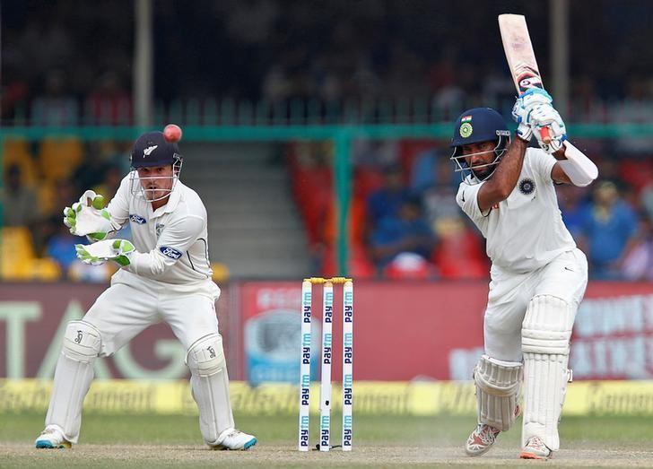 Cricket - India v New Zealand - First Test cricket match - Green Park Stadium, Kanpur, India - 25/09/2016. Cheteshwar Pujara plays a shot. REUTERS/Danish Siddiqui