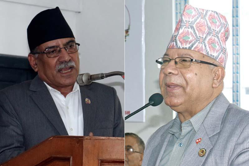 Pushpa Kamal Dahal (left) and Madhav Kumar Nepal. Photos: RSS