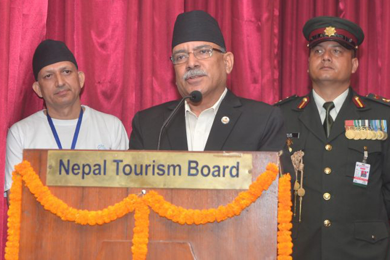 Prime Minister Pushpa Kamal Dahal addresses a function organised on the occasion of the International Day of Peace, in Kathmandu, on Wednesday, September 21, 2016. Photo: PM's Secretariat