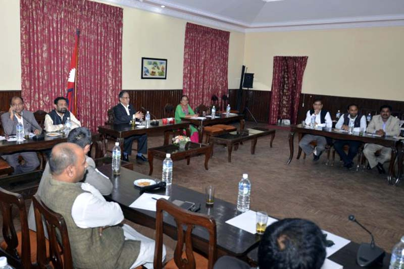 Prime Minister Pushpa Kamal Dahal (3rd from left) in a meeting with the Madesh-based parties, at Baluwatar, in Kathmandu, on Wednesday, September 14, 2016. Photo Courtesy: PM's Secretariat