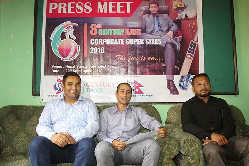 CEO of SS Events Raman Shiwakoti (centre) gestures during a press meet in Kathmandu on Thursday, September 22, 2016. Photo: Udipt Singh Chhetry/THT