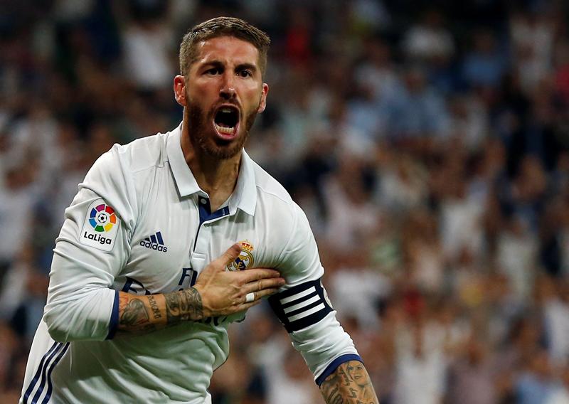 Real Madrid's Sergio Ramos celebrates a goal. Photo: Reuters