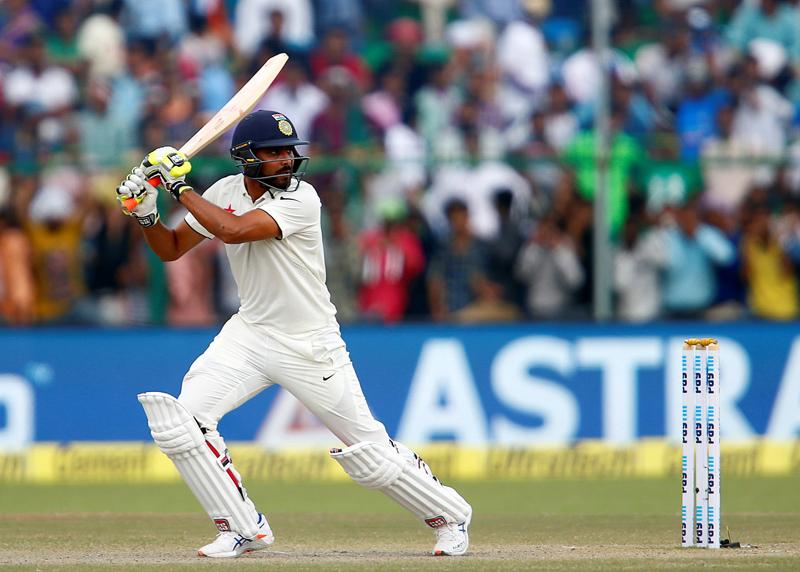 India's Ravindra Jadeja plays a shot. Photo: Reuters