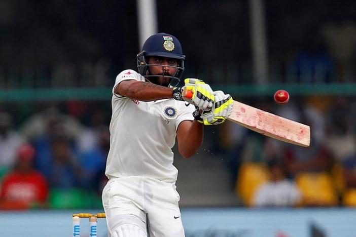 Cricket - India v New Zealand - First Test cricket match - Green Park Stadium, Kanpur, India - 23/09/2016. India's Ravindra Jadeja plays a shot.  REUTERS/Danish Siddiqui