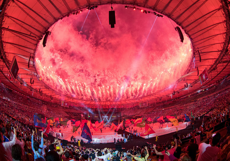 Fireworks around the rim of the arena at the end of the closing ceremony of the Rio 2016 Paralympic Games at the Maracanu00e3 Stadium in Rio de Janeiro, Brazil on Sunday, Sept. 18, 2016. Photo: AP