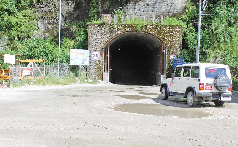 A four-wheeler is seen entering a tunnel in Bhulbhule of Lamjung district, on Friday, September 23, 2016. It is considered the first road tunnel of Nepal. Photo: RSS