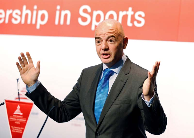 File- FIFA President Gianni Infantino attends the World Summit on Ethics and Leadership in Sports at the headquarters of FIFA in Zurich, Switzerland, on September 16, 2016. Photo: Reuters