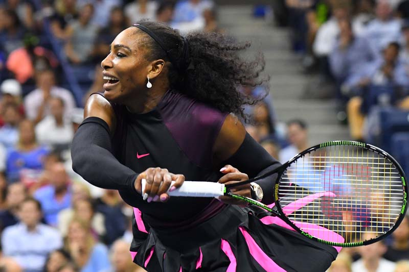 Serena Williams of the USA hits to Vania King of USA (not pictured) on day four of the 2016 US Open tennis tournament at USTA Billie Jean King National Tennis Centre in New York on September 1, 2016. Photo Credit: USA Today Sports via Reuters