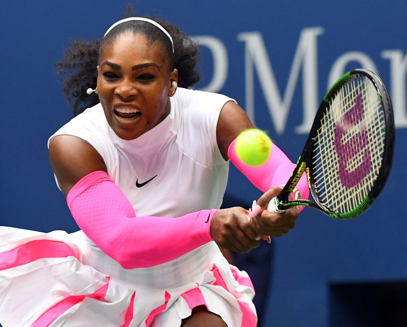 Serena Williams of the USA hits to Yaroslava Shvedova of Kazakhstan on day eight of the 2016 US Open tennis tournament at USTA Billie Jean King National Tennis Center in New York, USA on September 05, 2016. Photo: Reuters