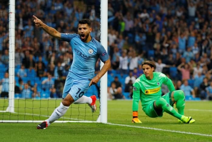 Britain Soccer Football - Manchester City v Borussia Monchengladbach - UEFA Champions League Group Stage - Group C - Etihad Stadium, Manchester, England - 14/9/16nManchester City's Sergio Aguero celebrates scoring their first goal   nReuters / Phil Noble