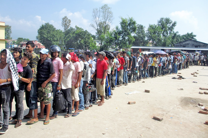 Service seekers queue to submit their driving licence applications at the Transport Management Office in Bhimdutta Municipality of Kanchanpur district, on Wednesday, September 28, 2016. Photo: RSS