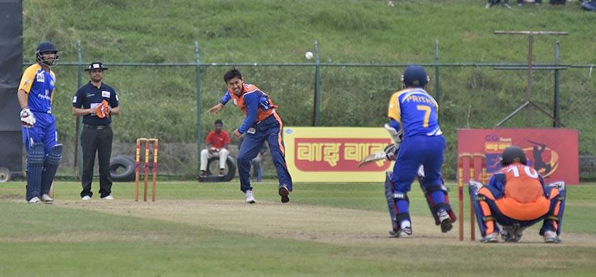 Jagadamba Rhinos' Shakti Gauchan bowls against Prithu Baskota of Panchakanya Tej in their match of the Wai Wai Everest Premier League League match. Photo: Naresh Shrestha