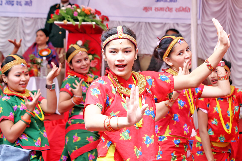 Students of Baneshwor Multipule Campus dance during the silver jubliee celebration of the campus in Kathmandu, on Sunday, September 11, 2016. Photo: RSS