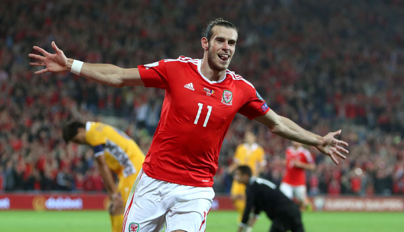 Wales' Gareth Bale celebrates scoring against Moldova during the 2018 World Cup qualifying group D soccer match at the Cardiff City Stadium, Wales, on Monday September 5, 2016. Photo: David Davies/PA via AP