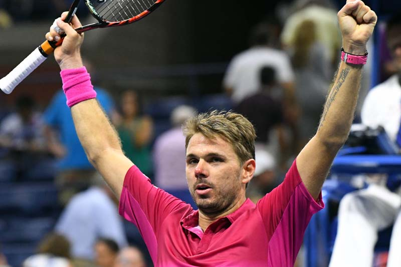 Stan Wawrinka of Switzerland reacts after beating Kei Nishikori of Japan on day twelve of the US Open 2016 tennis tournament at USTA Billie Jean King National Tennis Centre on September 9, 2016. Photo: USA Today Sports via Reuters