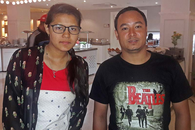Nepalu2019s Sujana Lohani and Sajin Maharjan pose for a photo after their 42nd Chess Olympiad matches in Baku on Friday, September 9, 2016.