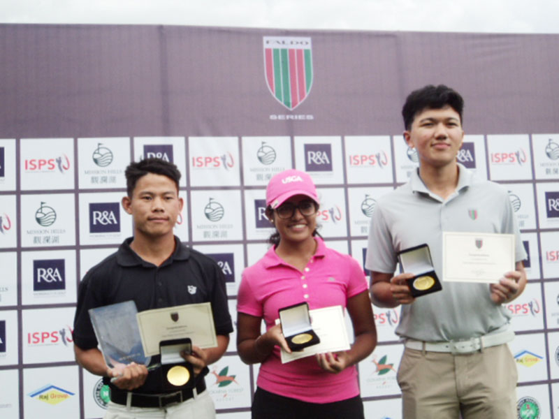 (From left) Sukra Bahadur Rai, Sifat Kaur Alag and Tenzing Tsering hold trophies and certificates after the Faldo Series Nepal Championship at the Gokarna Golf Club in Kathmandu on Thursday, September 15, 2016. Photo: THT