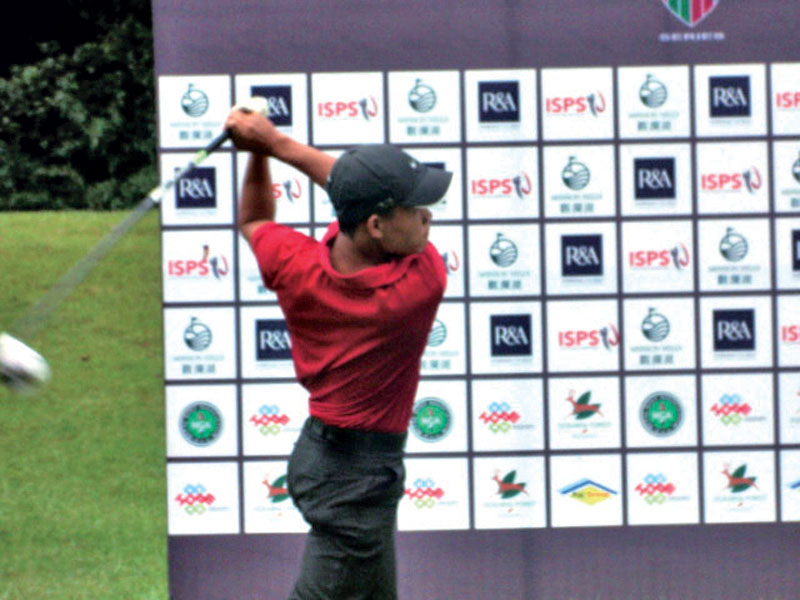 Sukra Bahadur Rai plays a shot during the first round of the Faldo Series Nepal Championship in Kathmandu on Tuesday.