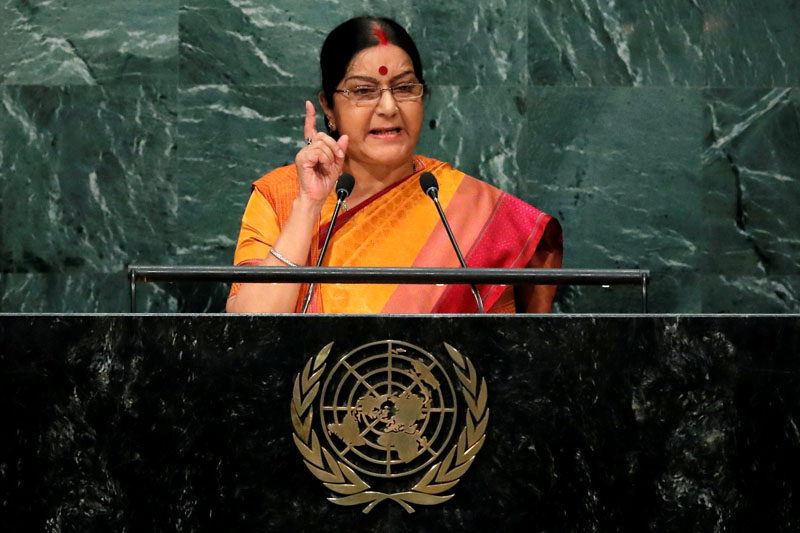 India's Minister of External Affairs Sushma Swaraj addresses the United Nations General Assembly in the Manhattan borough of New York, US, on September 26, 2016. Photo: Reuters