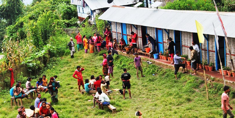 People displaced by landslide in Fungling-8 of Taplejung district taking resort at a local school on Saturday, Sepetember 3, 2016. Photo: District Police Office