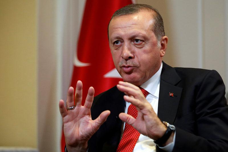 Turkish President Tayyip Erdogan speaks during an interview in New York City, US September 19, 2016. Photo: Reuters