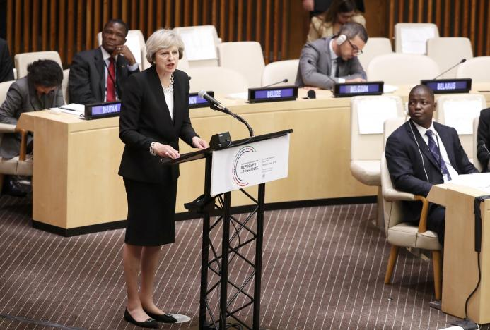 Britain's Prime Minister Theresa May speaks during a high-level meeting on addressing large movements of refugees and migrants at the United Nations General Assembly in Manhattan, New York, U.S., September 19, 2016. REUTERS/Lucas Jackson