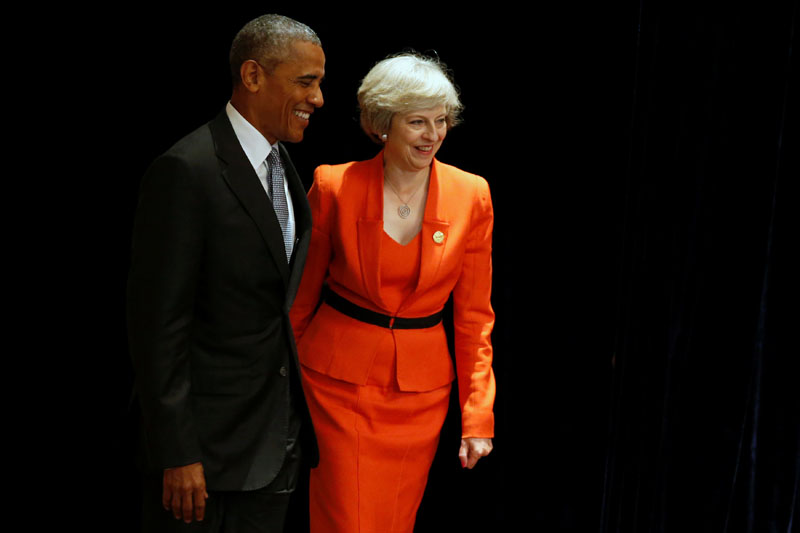 US President Barack Obama and Britain's Prime Minister Theresa May arrive to speak to reporters after their bilateral meeting alongside the G20 Summit, in Ming Yuan Hall at Westlake Statehouse in Hangzhou, China, on September 4, 2016. Photo: Reuters