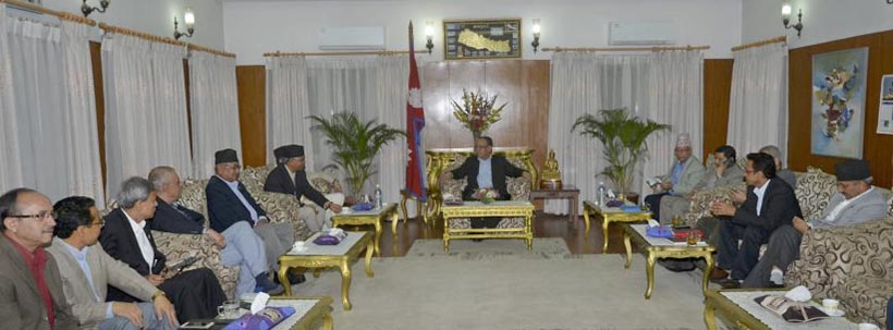 Leaders of Big 3 hold a meeting at the Prime Minister's residence in Baluwatar, on Sunday, September 25, 2016. Photo: PM's Secretariat