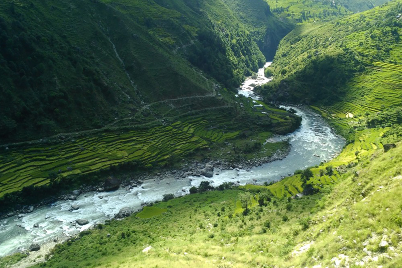 Tila River, one of the major tributaries of the Karnali River, as seen flowing in Kalikot district, on Wednesday, September 28, 2016. Photo: RSS