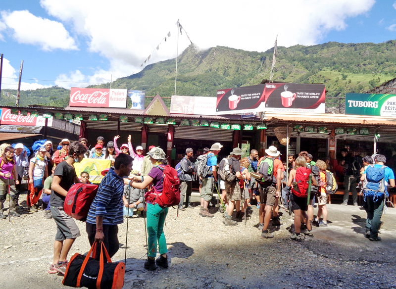 Tourists preparing to leave for a trekking along the Annapurna trekking trail via Ghandruk and Ghodepani, at Nayapul of Kaski district, on Monday, September 19, 2016. Photo: RSS