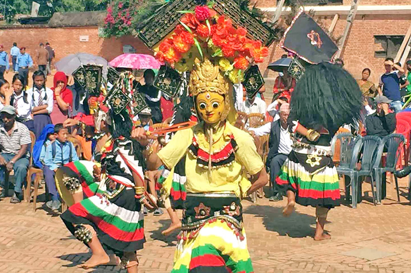 Artists clad in traditional attires as dieties performing dance on the occasion of 37th World Tourism Day in Bhaktapur on Tuesday, September 27, 2016. Photo: RSS