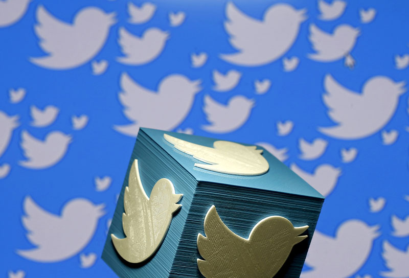 A 3D-printed logo for Twitter is seen in this picture illustration on January 26, 2016. Photo: Reuters