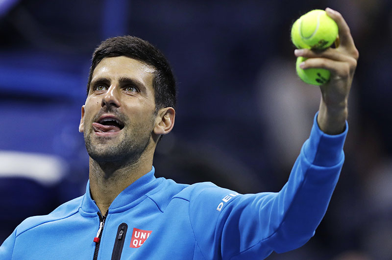 Novak Djokovic, of Serbia, looks toward the crowd after his match against Jo-Wilfried Tsonga, of France, during the quarterfinals of the US Open tennis tournament, on Tuesday, September 6, 2016, in New York. Tsonga retired from the match due to injury at the start of the third set. Photo: AP