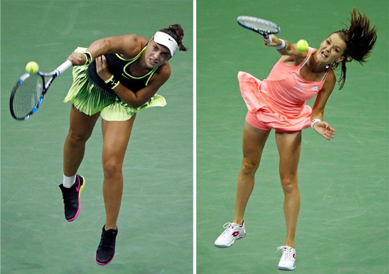 In the combo photo, Ana Konjuh (left) of Croatia, serves to Agnieszka Radwanska, of Poland, during the US Open tennis tournament, on Monday, September 5, 2016, in New York. Photo: AP