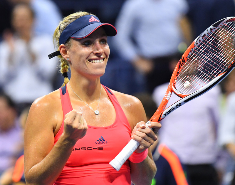 Angelique Kerber of Germany reacts after beating Caroline Wozniacki of Denmark on day eleven of the 2016 US Open tennis tournament at USTA Billie Jean King National Tennis Center. Mandatory Credit: Robert Deutsch-USA TODAY Sports