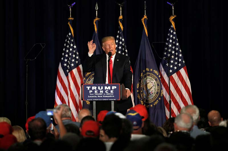 Republican presidential nominee Donald Trump speaks at a campaign rally in Laconia, New Hampshire, US, on Thursday, September 15, 2016. Photo: Reuters