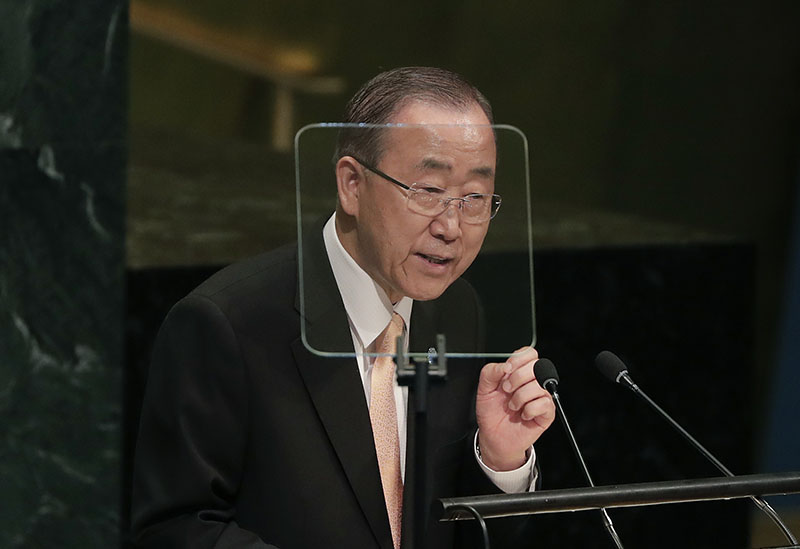 Secretary-General Ban Ki-moon speaks during the 71st session of the United Nations General Assembly, ON Tuesday, September 20, 2016, at UN headquarters. Photo: AP