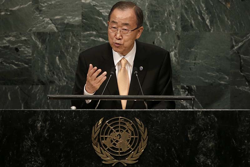 United Nations Secretary General Ban Ki-moon addresses the General Debate of the 71st Session of the United Nations General Assembly in the Manhattan borough of New York, on September 20, 2016. Photo: Reuters