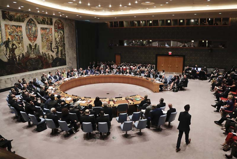Members of the Security Council meet to address the situation in Syria, at UN headquarters on Wednesday, September 21, 2016, . Photo: AP