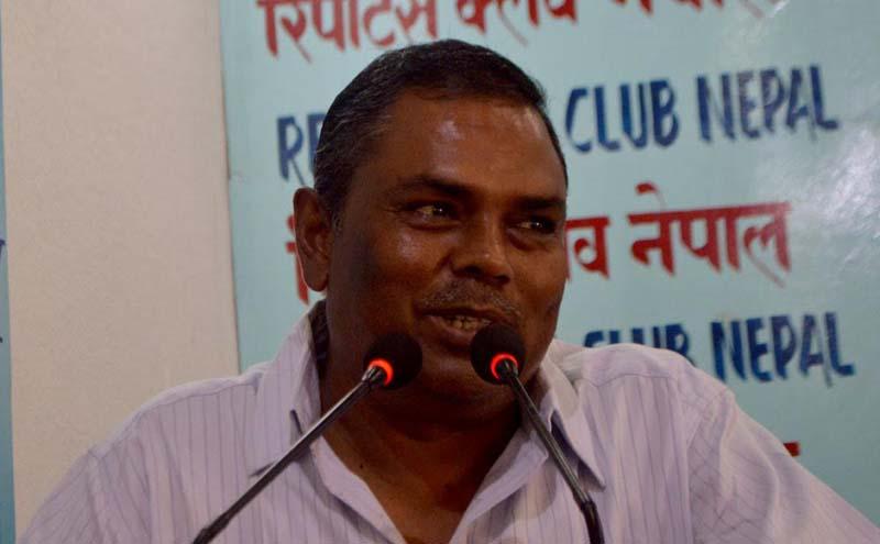 Federal Socialist Forum-Nepal Chairman Upendra Yadav speaks with journalists in Kathmandu, on Friday, September 9, 2016. Photo: Reporters' Club Nepal