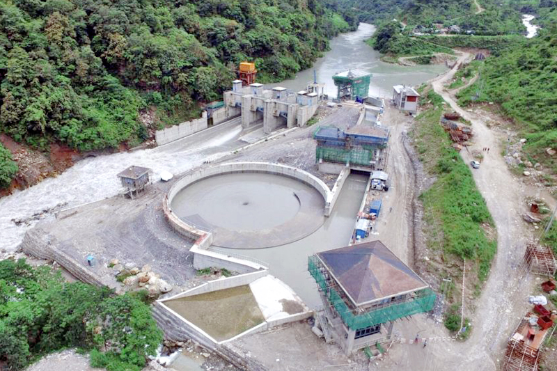 An ariel view of the dam site of the Upper Marsyandi A hydel project, in Lamjung, as captured on Sunday, September 25, 2016. Photo: THT