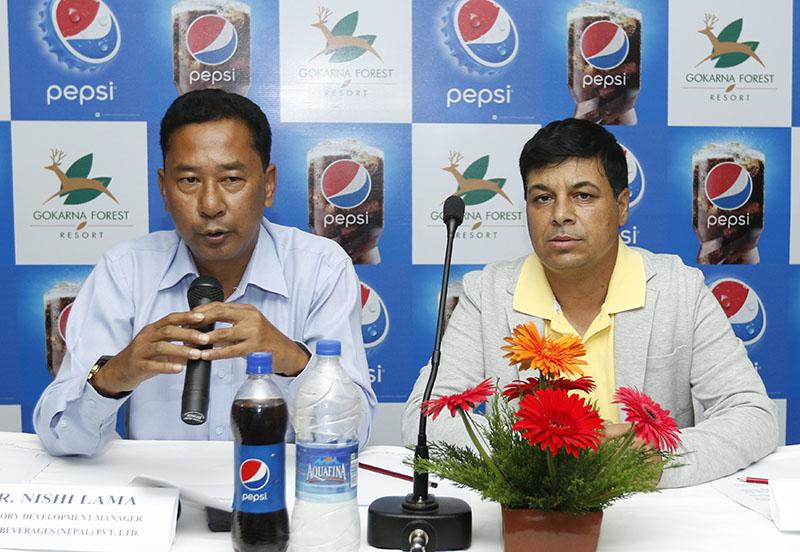 Territory Development Manager at Varun Beverages (Nepal) Nishi Lama speaks as Sr Golf Director at Gokarna Forest Resort Deepak Acharya looks on during a press meet in Kathmandu on Tuesday, September 6, 2016. Photo: Kaushal Adhikari/THT