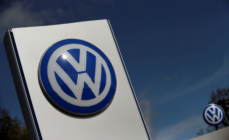 A Volkswagen logo is pictured at Volkswagen's headquarters in Wolfsburg, Germany, on April 22, 2016. Photo: Reuters