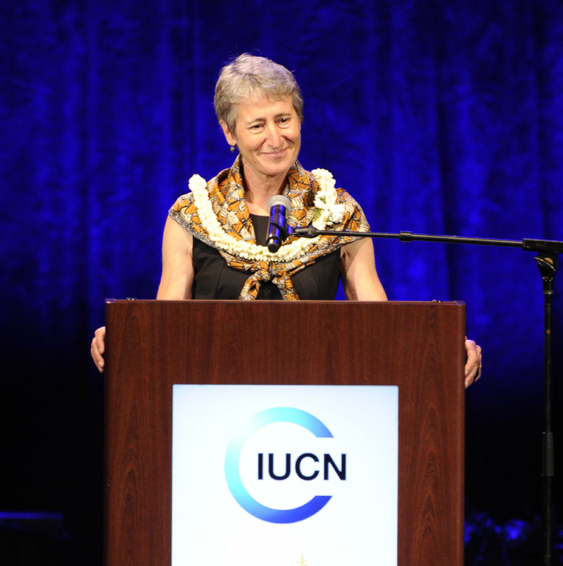 US Secretary of the Interior Sally Jewell addresses the gathering at the International Coalition for the Conservation of Nature World Conservation Congress opening ceremony at the Neal S Blaisdell Center arena in Honolulu on Thursday, September 1, 2016. Photo: The Star-Advertiser via AP