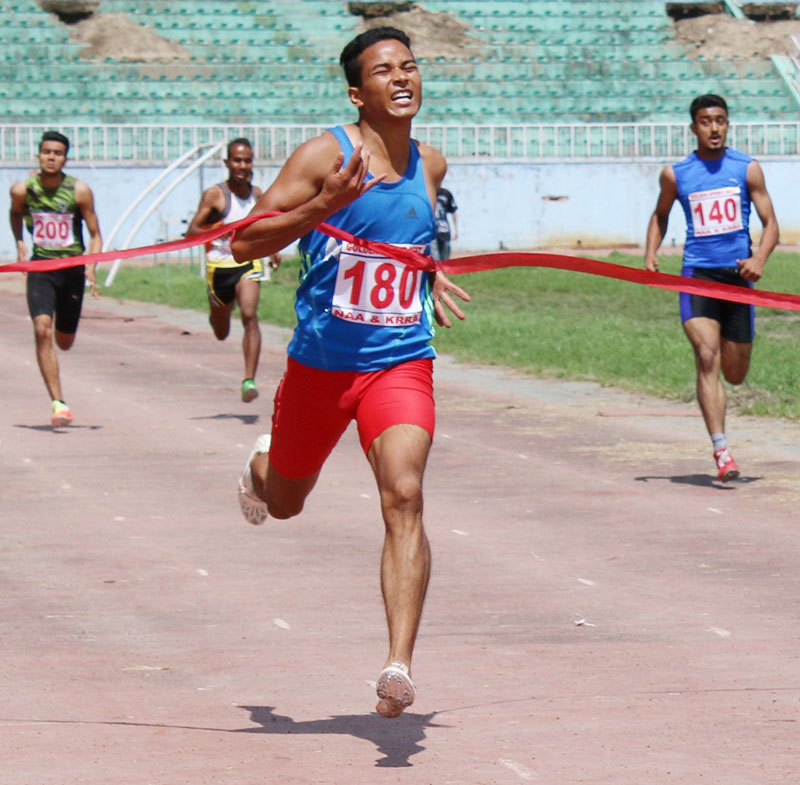 Yam Sajan Sunar runsduring the fourth Golden Sprint Meet at the Dasharath Stadium in Kathmandu on Thursday, September 22, 2016. Photo: THT