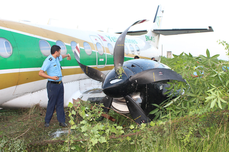 A Yeti Airlines aircraft overshoots the runway of Bhairahawa Airport in Rupandehi, on Saturday, September 24, 2016. Photo: RSS