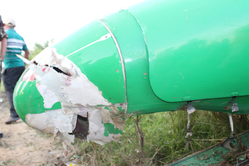 The nose of a Yeti Airlines aircraft suffers damage after the plane overshoots the runway of Bhairahawa Airport in Rupandehi, on Saturday, September 24, 2016. Photo: RSS
