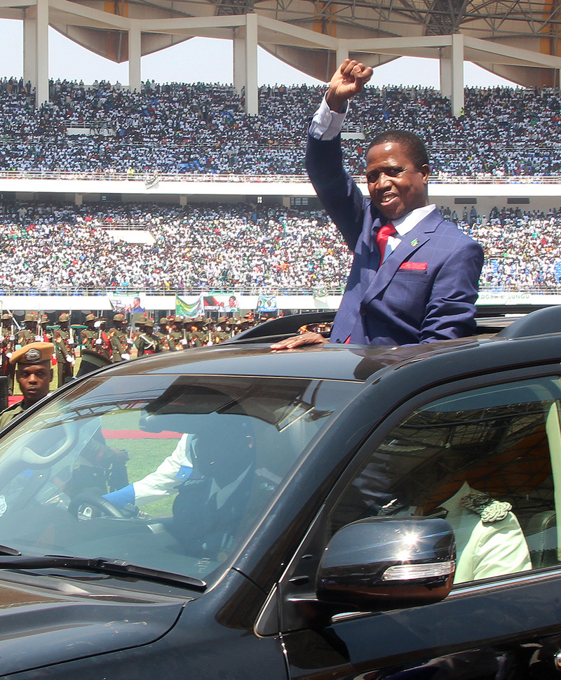 President Edgar Lungu of Zambia, waves to the crowd during his inauguration in Lusaka, Zambia, Tuesday, September 13, 2016. Photo: AP